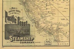 Map of Pacific Coast Steamship route, cropped