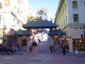 symbolic gate at the entrance to a street in china town san francisco